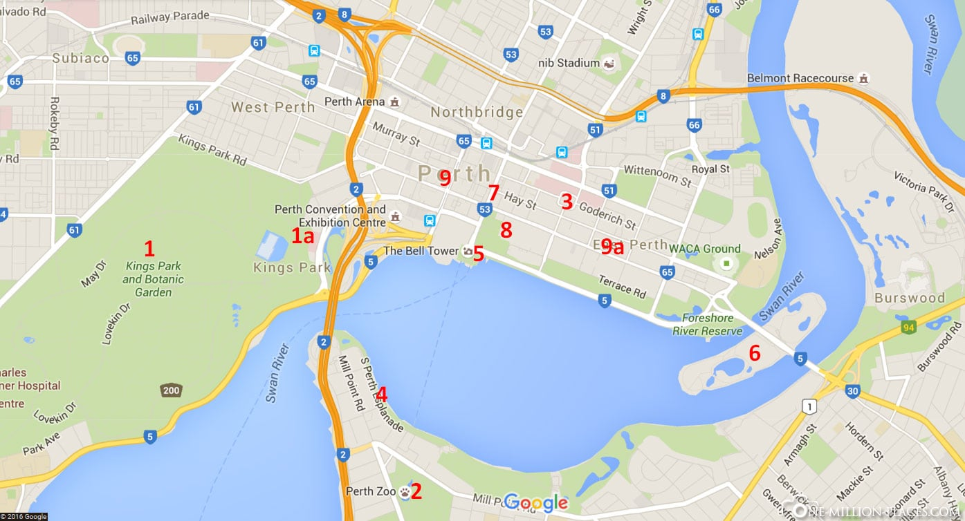 Map, Perth, Australia, State of Western Australia, On Your Own, Travelreport