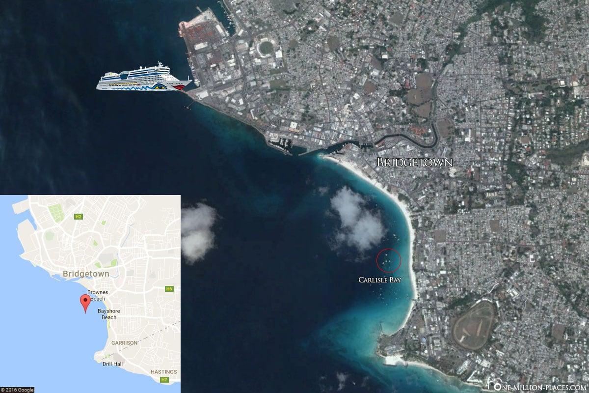Karte, Schwimmen mit Schildkröten, Barbados, Carlisle Bay, Peppels Beach, Karibik, AIDA Kreuzfahrt, Reisebericht