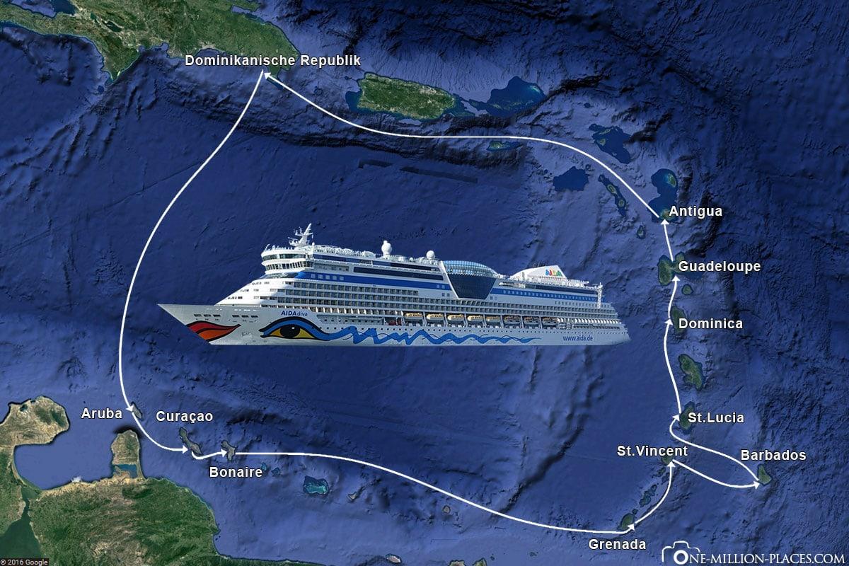Karibische Inseln 1, AIDA diva, Reiseroute, Karte, Reisebericht