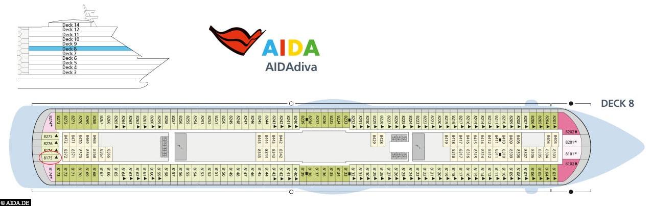 Deck 8, Plan, AIDAdiva, Kreuzfahrt, Karibische Inseln, Reisebericht