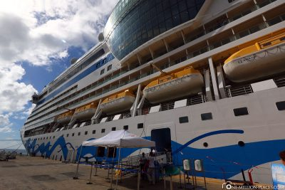 Ein letzter Blick auf die AIDAdiva im Hafen von La Romana
