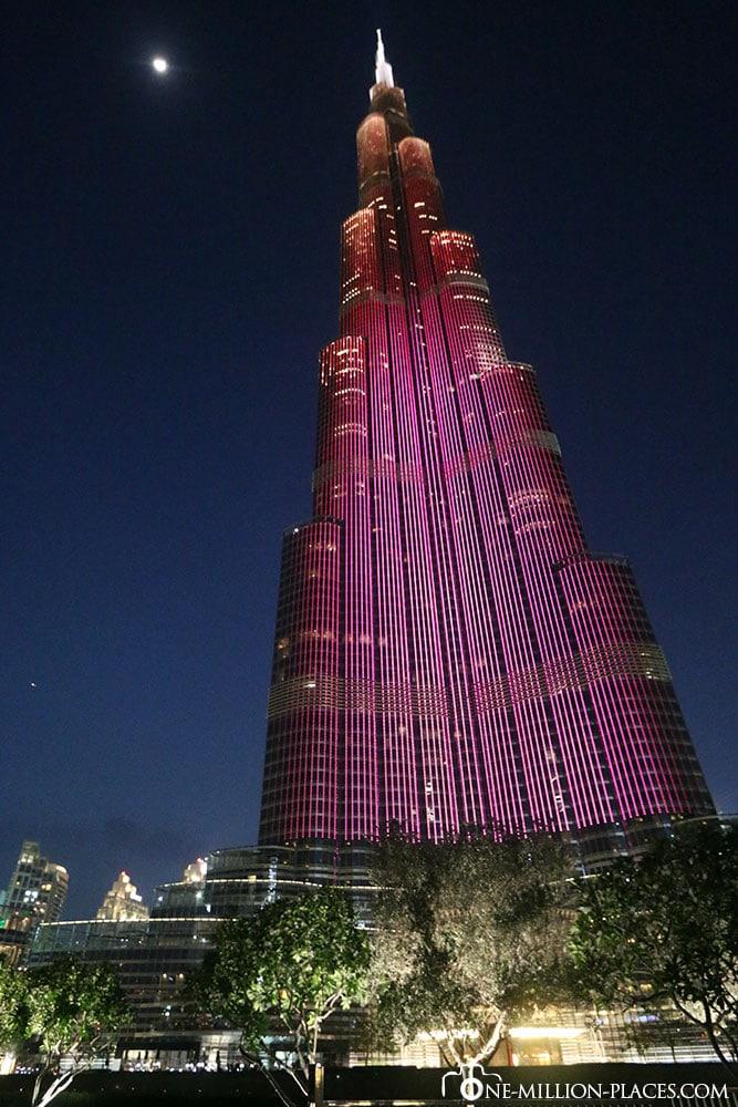 Nachts, Burj Khalifa, Dubai, Sehenswürdigkeiten, Vereinigte Arabische Emirate, Reisebericht