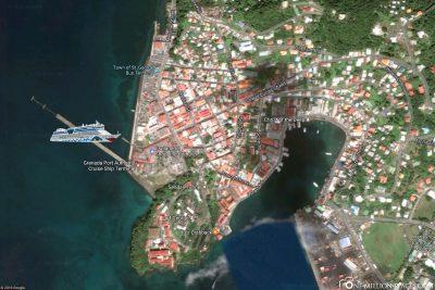 Die Anlegestelle von AIDA in Grenada