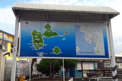 Karte am Hafen von Guadeloupe