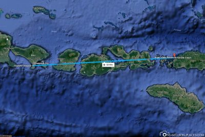The flight route from Denpasar to Flores