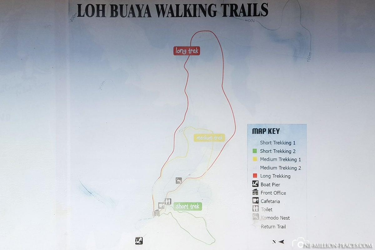 Hiking Trails, Map, Komodo National Park, Rinca Island, Indonesia, Rintja, Travel Report