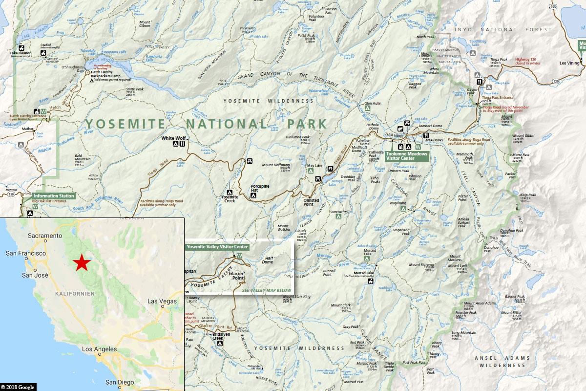 Yosemite, Karte, Lage, Kalifornien, USA