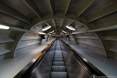 The escalator in the Atomium