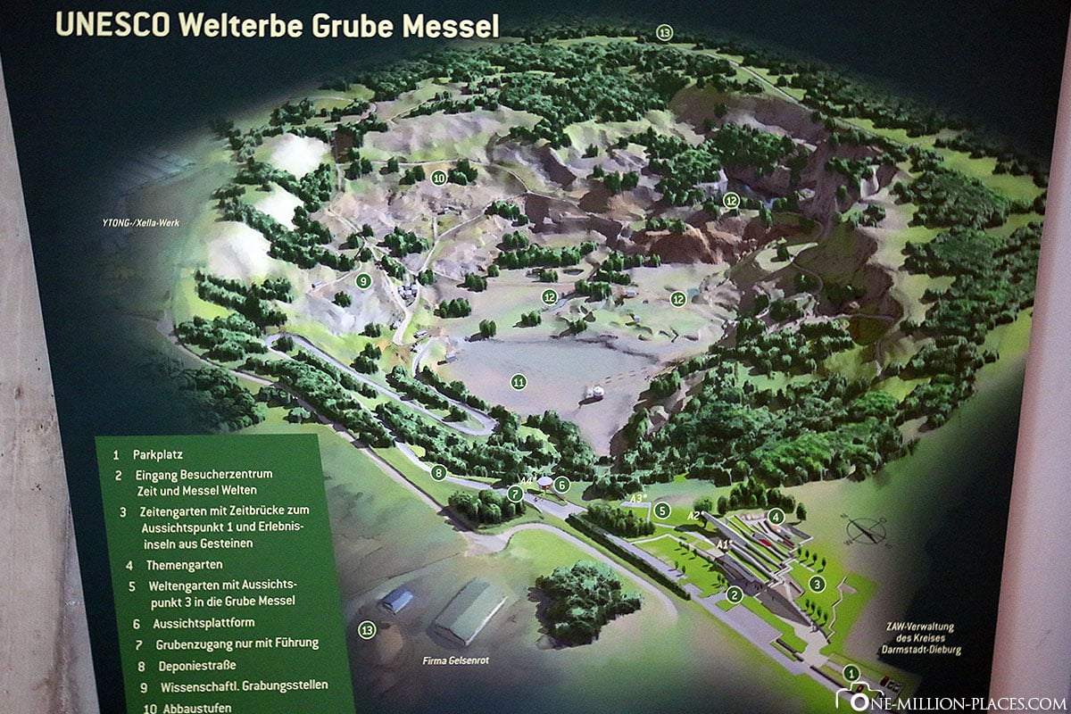 Map of the Messel mine, fossil, excavation, Messel mine, Hesse, Germany, World Heritage, travelreport