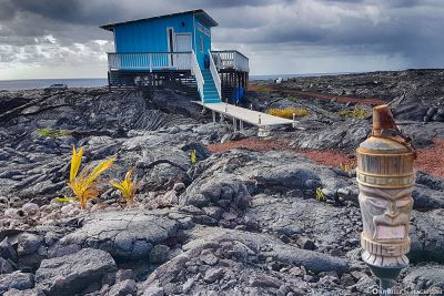 Small houses on the lava fields