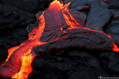 Lava flow at night