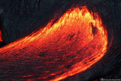 The glowing lava at night