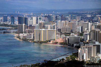 Blick auf den Stadtteil Waikiki