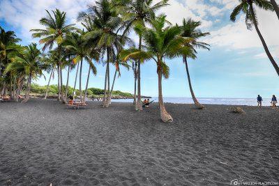Schwarzer Sand und Palmen