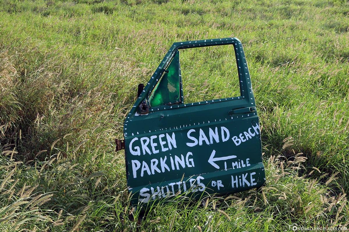 Wegweiser, Parken, Papakōlea Green Sand Beach, Big Island, Hawaii, USA, Reisebericht
