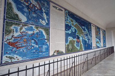 Information boards about the wars in the Pacific