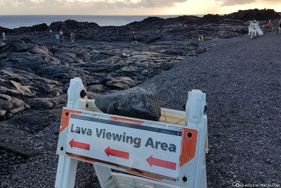 Wegweiser zur Lava Viewing Area