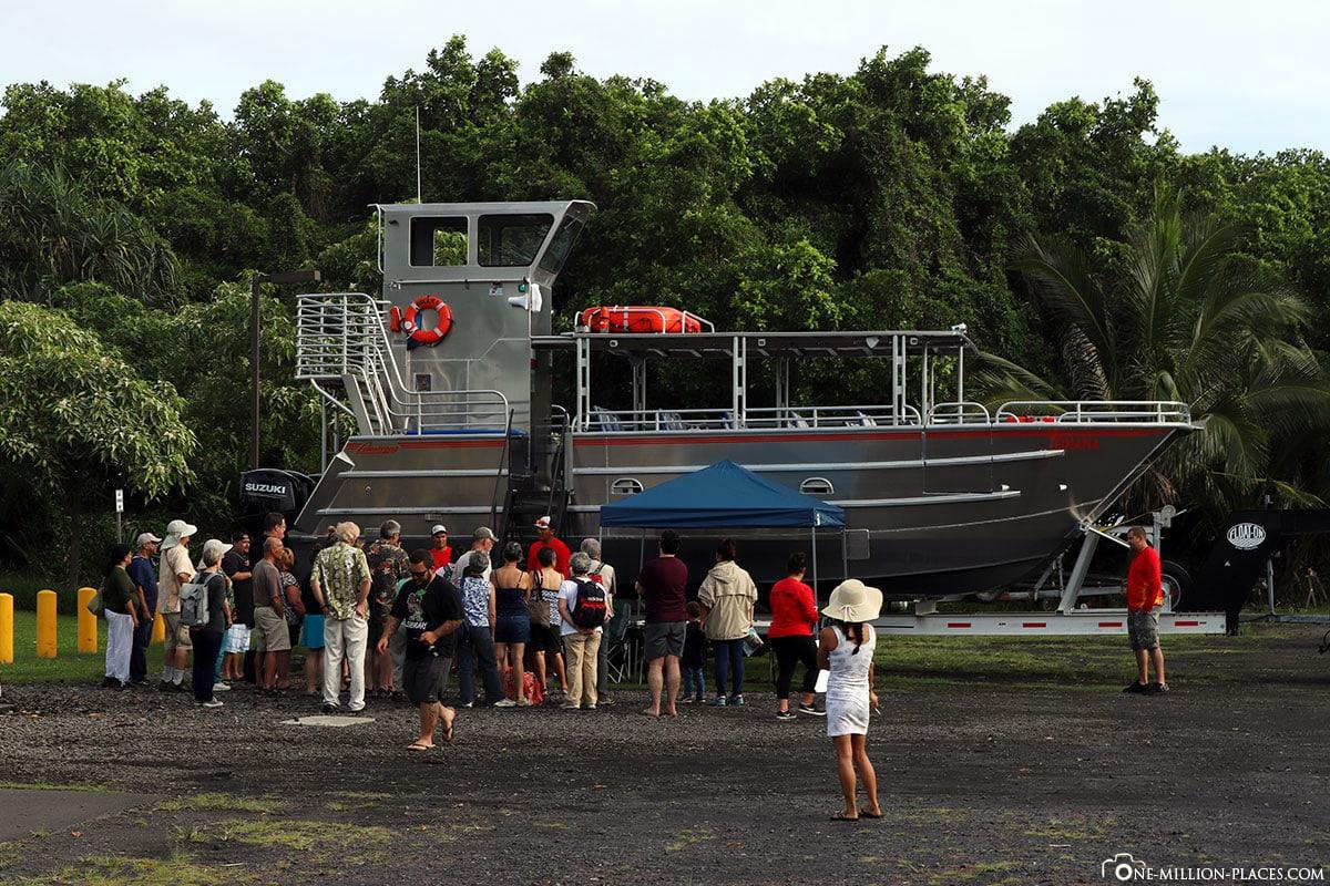 Das Schnellboot, Lava Boat Volcano Ocean Tour, Kalapana Lava Boot Tour, Big Island, Hawaii, USA, Reisebericht