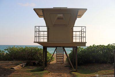 A lifeguard tower at Waimanalo Beach