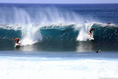 The surfers on the North Shore of Oahu