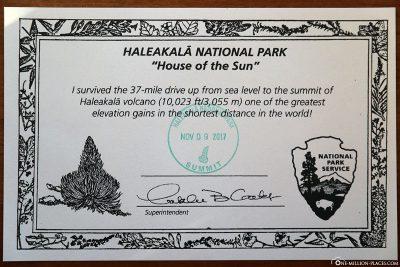 Haleakala Zertifikat