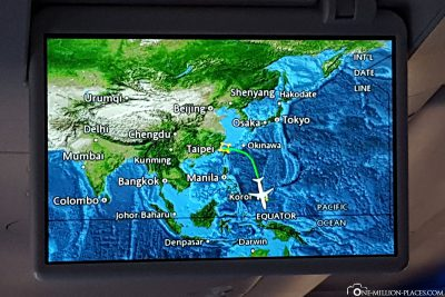 The flight route from Taipei to Koror
