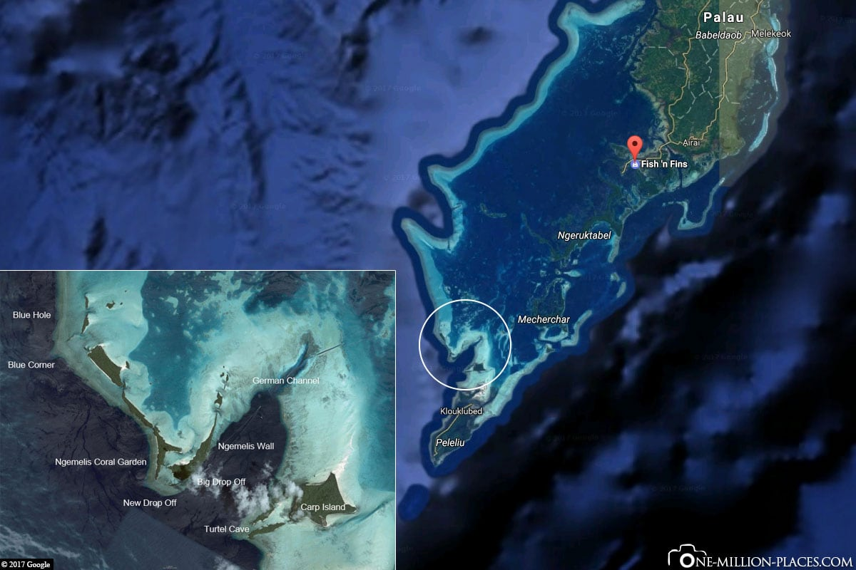 Map, Diving Spots, Fish n Fins, Diving School, Koror, Palau, Micronesia, South Seas, Diving Report, Island Vacation, Travel Report