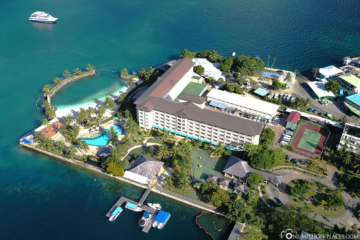 Luftbild, Hotel Palau Royal Resort, Koror, Palau, Mikronesien, Südsee, Auf eigene Faust, Inselurlaub, Reisebericht