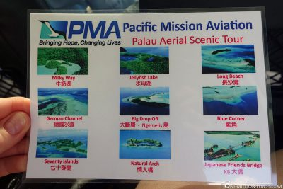 The flight route via Palau