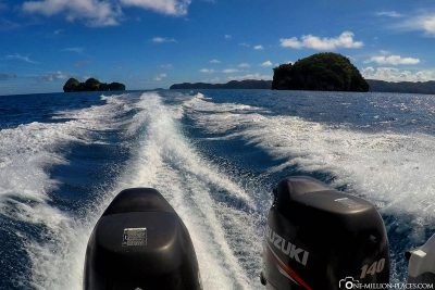 By speedboat in Palau