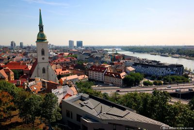 View over Bratislava and the Danube