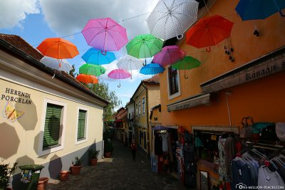 Alley with umbrellas in Szentendre