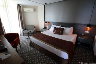 The bedroom of the suite