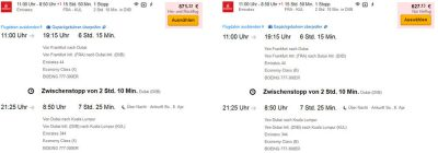 Airfare from Frankfurt to Kuala Lumpur