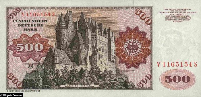 500 DM, banknote. Eltz Castle, Back, Banknote