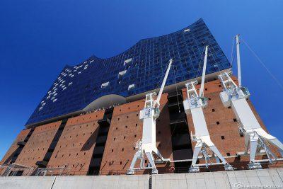 Historic white loading cranes