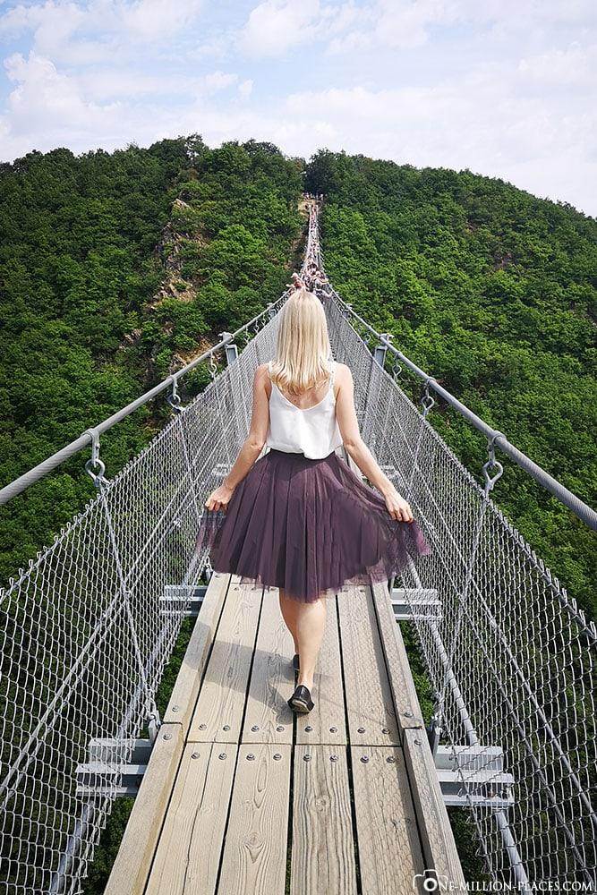 Suspension rope bridge Geierlay, Mörsdorf, Hunsrück, Germany