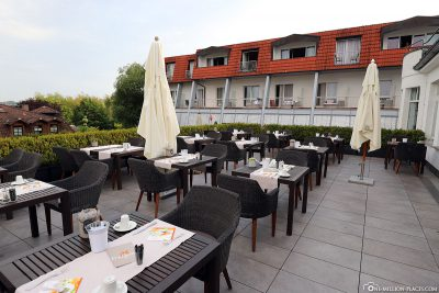 The restaurant's outdoor terrace