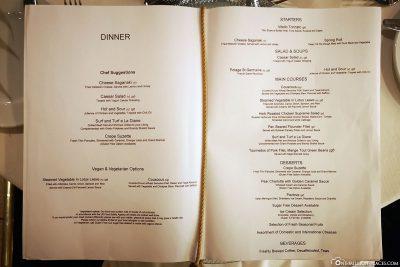 Speisekarte des À-la-carte-Restaurants