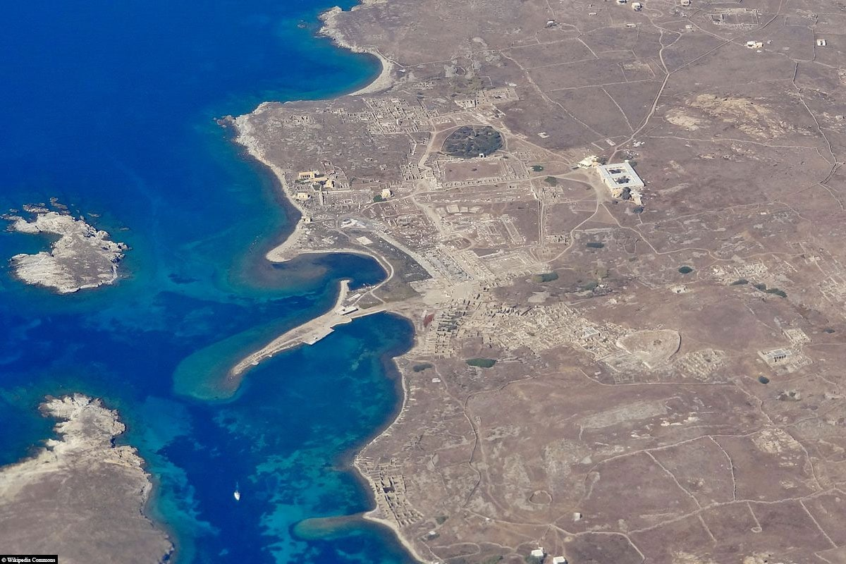 Aerial View, Delos, Ruins, UNSECO World Heritage Site, Archaeological Site, Mykonos, Greece