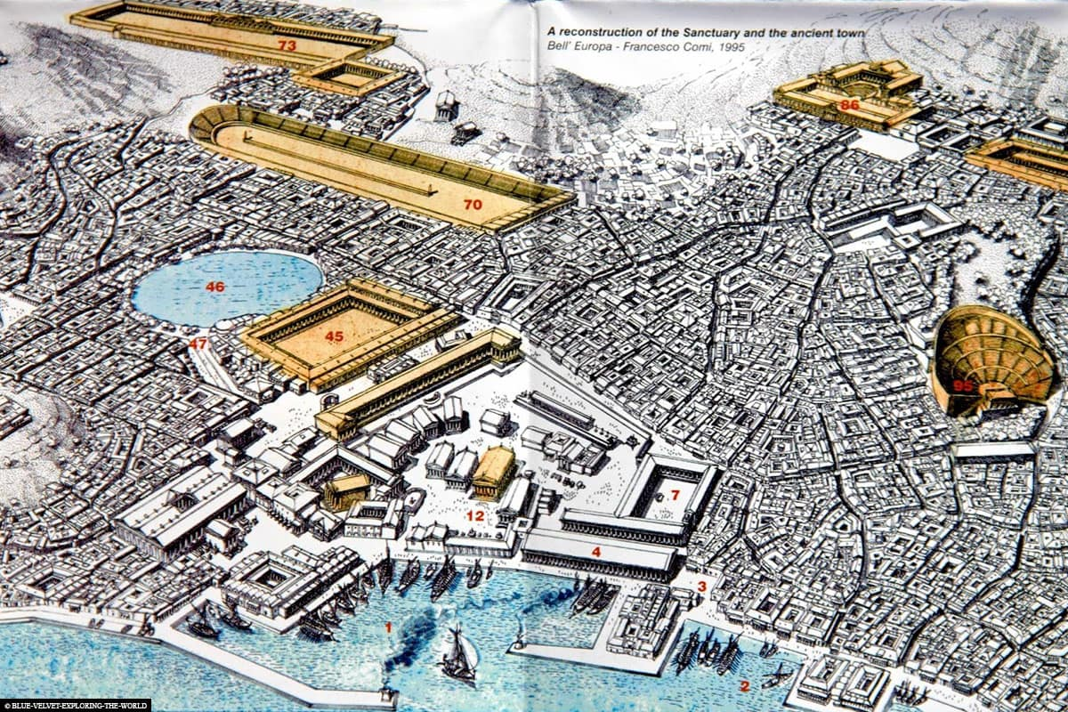 Reconstruction, Map, Delos, Ruins, UNSECO World Heritage, Archaeological Site, Mykonos, Greece