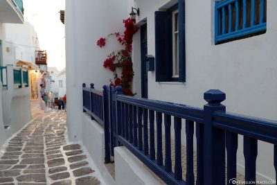 The blue-and-white alleys in Mykonos
