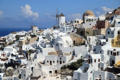 View of the windmills in Oia