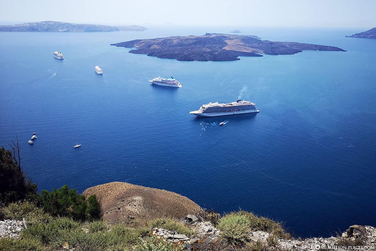 Caldera, Cruise Ships, Fira, Thira, Santorini, Greek Islands, Greece