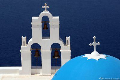 The church with the blue dome in Fira