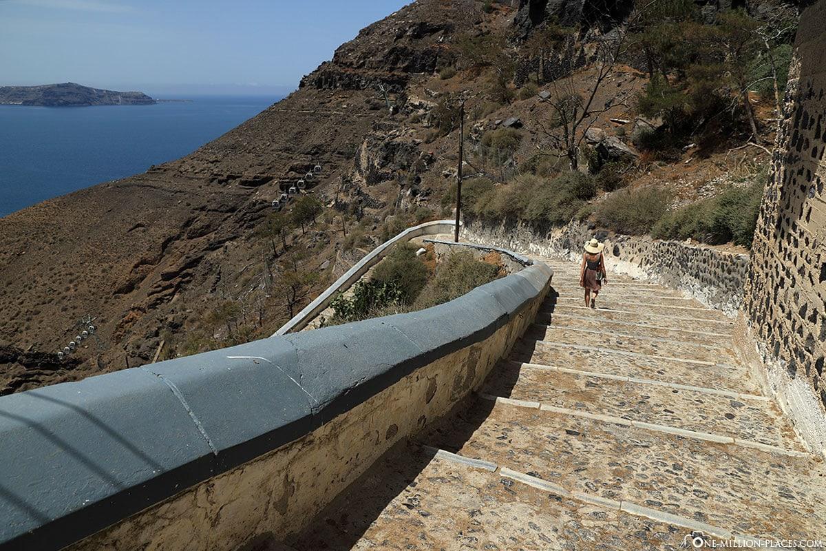 Karavolades Stairs, Steps, Fira, Thira, Santorini, Greek Islands, Greece, Cruise, Travel Report