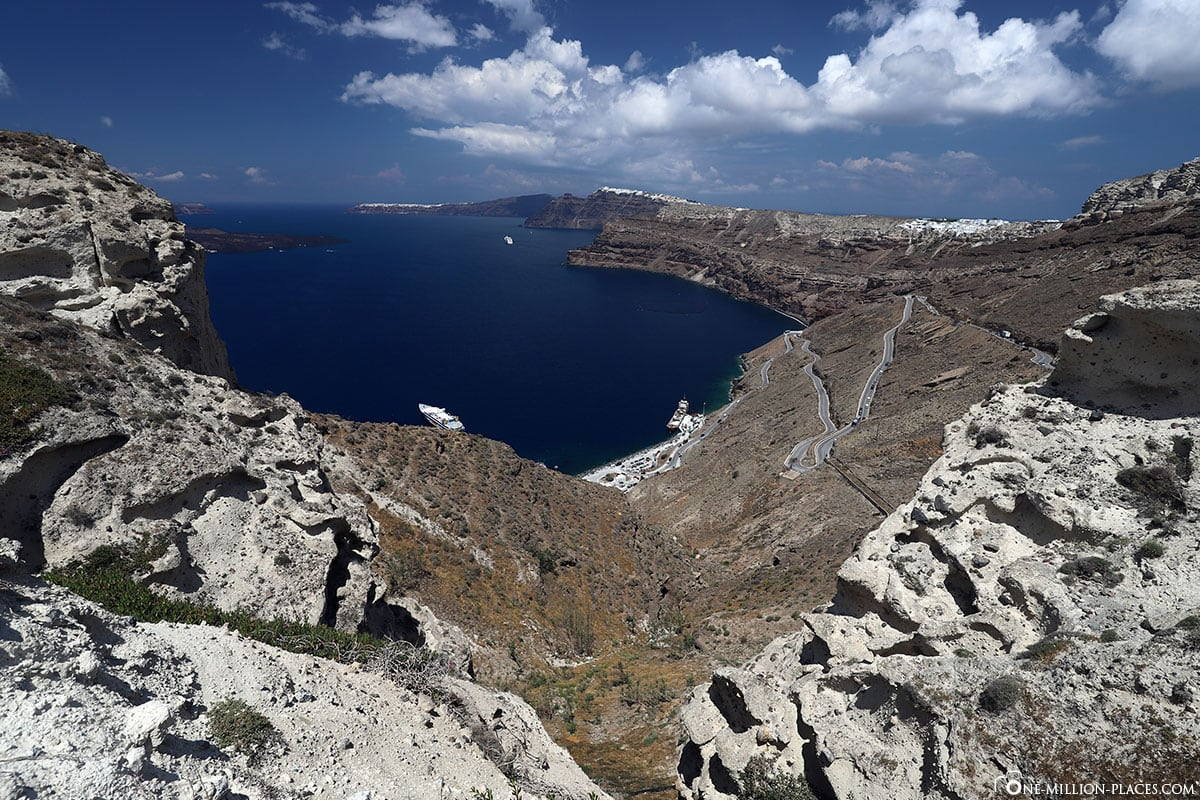 View, New Port, Caldera, Santorini, Greek Islands, Greece, Cruise