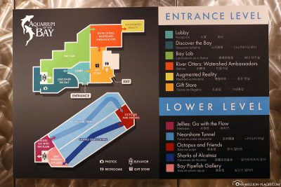 A map of the Aquarium of the Bay