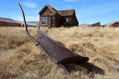 An old wheelbarrow in Bodie