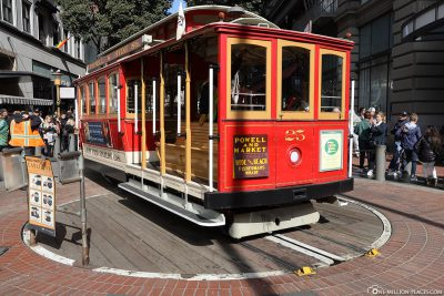 Die Cable Car Wendestelle in der Powell Street